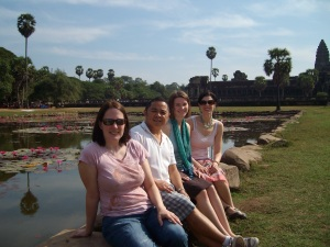 S-CAR alumni Dr. Al Fuertes and Beth Vierra with S-CAR students Adrienne Harding (M.S. student) and Elizabeth Mount (Ph.D. student) at Ankor Wat in Cambodia, studying the effects of the genocide committed by the Khmer Rouge.