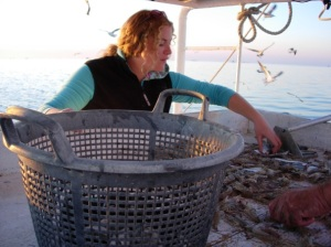 S-CAR doctoral candidate Terra Tolley working in the Gulf following hurricane Katrina.